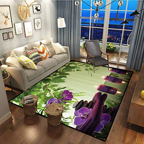 Spa Decor Polyester Multicolored Rug for Luxury Carpets for Floors, Bed and Living Room Zen Stones Aromatic Candles and Orchids Blooms Treatment Vacation Multicolor 7 x 5 ft