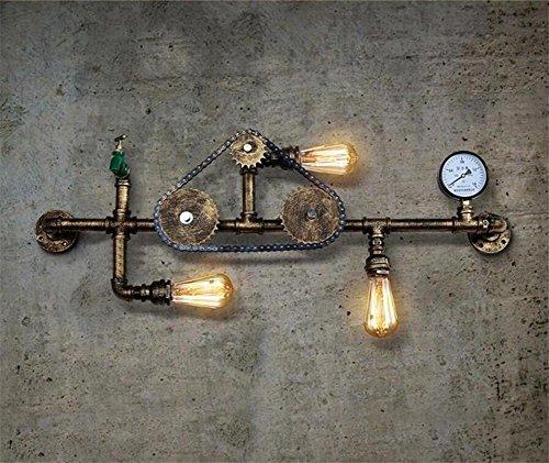 Atmko®Applique Murale Vintage Industriel Appliques Applique Applique Applique Chambre Couloir Couloir Bar Cafe Escalier En fer forgé Engrenage Chaîne D'eau Tuyaux Applique