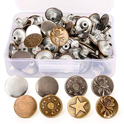 ジーンズボタン DIY 飾り 服 修理用 アクセサリー はめ込み式 金属製 8種類 17mm 80個