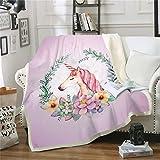 LATH.PIN Manta de franela muy suave y cálida, manta de viaje para otoño, invierno, para sofá, cama, sillón, para dormitorio (unicornio lila, 150 x 200 cm)