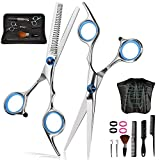 Panta Hair Cutting Scissors Kit 12 Pcs, Stainless Steel Haircut Set with Cutting Scissor, Thinning Scissor, Haircut Cape, 3 Combs, 2 Clips, Professional Hairdressing Shears Set for Barber, Salon, Home