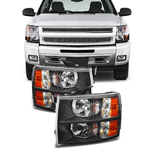 For 2007-2013 Chevy Silverado Replacement Black Bezel Headlights Driver/Passenger Head Lamps Pair Replacement
