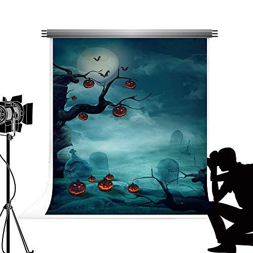 Kate 2x3m Fondos de Fotos Calabazas de Halloween Linternas de Calabazas para el Cementerio de fotografía Sin Fondo de Fotos de Pliegue para niños Estudio Familiar