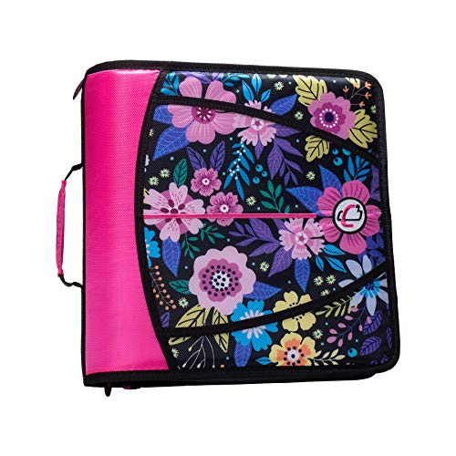 Case-It T641P Zipper Binder, 3-Inch Capacity, with 5-Tab Expanding File, Zip Mesh Pocket, Shoulder Strap, Midnight Floral Pink