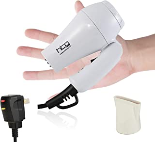Real 1000W HTG Travel Hair Dryer Dual Voltage Kids Hair Dryers Mini Blow Dryer with Folding Handle; Dual Voltage (White)