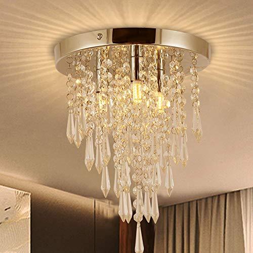 Garwarm Crystal Chandelier,Mini Chandelier, Modern Crystal Ceiling Light,3-Lights Flush Mount Ceiling Light for Bedroom,Hallway,Bar, Kitchen,Cloakroom,Bathroom,H 10.4' X Dia 9.8'