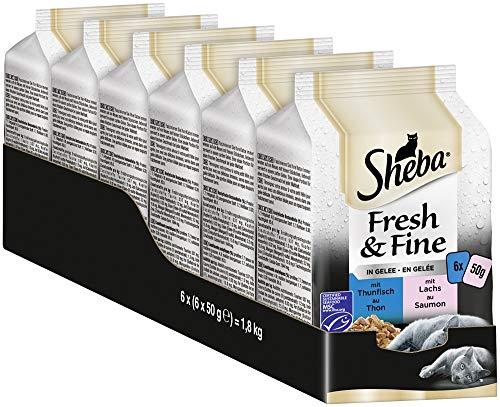 Sheba Fresh & Fine in Gelee – Nassfutter für Katzen – Für die tägliche Abwechslung im extra kleinen Portionsbeutel – 36 x 50g