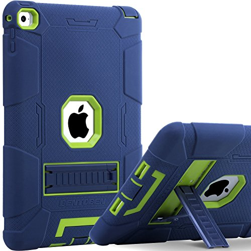 BENTOBEN iPad Air 2 Hülle, iPad Air 2 Schutzhülle, iPad Air 2 Tablet Tasche mit Ständer Heavy Duty 3 in 1 Hybrid Hülle PC Silikon Cover rutschfest stoßfest Hülle für iPad Air 2 (A1566 / A1567) Blau