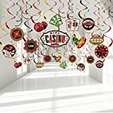 Casino Birthday Party Foil Hanging Swirls Decorations, Game Night Red Black Poker Happy Birthday Party Ceiling Hangings for Las Vegas Poker Card Casino Night Party Decoration Supplies 30TC