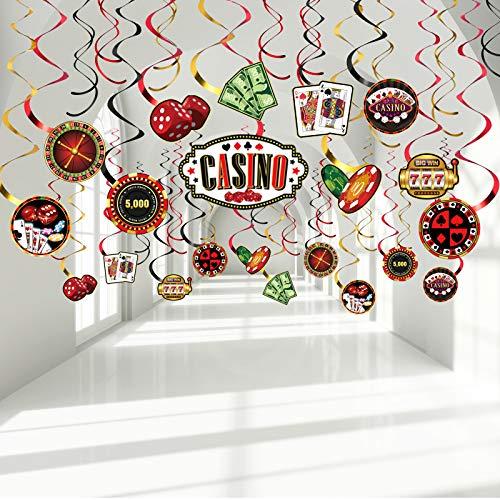 Decoración de Remolinos Colgantes de Papel de Aluminio para Fiesta de Cumpleaños de Casino, Serpentinas de Techo de Noche de Juego Negro Rojo Póker Feliz Cumpleaños para Las Vegas Fiesta Nocturna 30TC