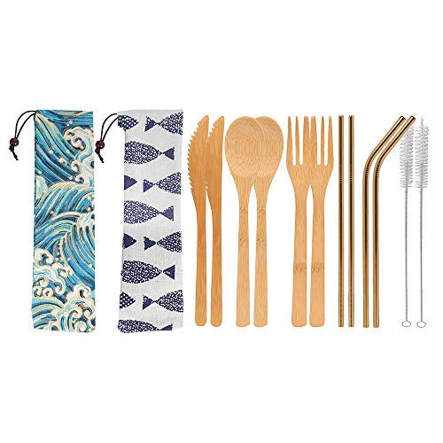 UPTRUST 2 Set Bamboo Cutlery Set Bamboo Travel Utensils reusable bamboo utensils with case 78 Inches Bamboo Knife Fork Spoon 3 colors Metal Straw Portable Travel Set Golden Straw