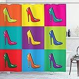 ABAKUHAUS High Heels Duschvorhang, Bunte Schuhe Pop-Art, Klare Farben aus Stoff inkl.12 Haken Farbfest Schimmel & Wasser Resistent, 175x200 cm, Mehrfarbig