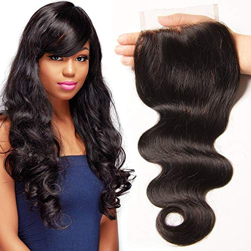 UNICE Hair Body Wave Human Hair Lace Closure Free Part Brazilian Unprocessed Virgin Hair 4x4 Closure Natural Color (16inch)