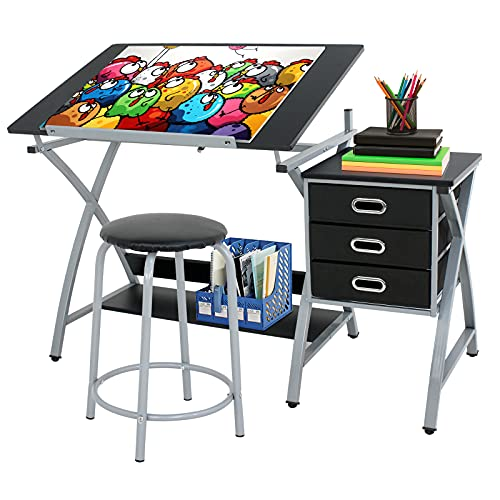 ZENY Tabletop Tilted Drawing Drafting Table Craft Drafting Desk Board Art Workstation w  3 Slide Drawers & Stool,Tabletop Adjustable,Art Craft Supplies