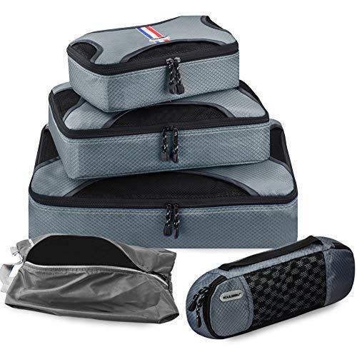 トラベルポーチ アレンジケース スーツケース整理 軽量 大容量 旅行 出張 便利グッズ 衣類収納 靴入れ 5点セット グレー