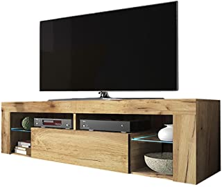 Selsey Hugo - Meuble TV/Banc TV (140 cm, Chene Lancaster, avec LED)