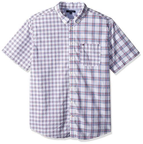 Tommy Hilfiger Camisa Oxford de Manga Corta con Botones Grandes y Altos para Hombre