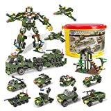1298 Pcs Army Building Blocks of Marine Corps War Air Force Vehicles Set , 19 Models, Exercise N Play Kids Consturction Bricks Toy for Boys Girls 6 Years+