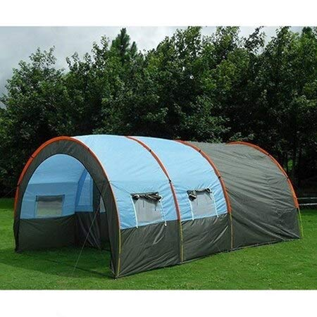 GUOANRAN Tents Outdoor Camping Large Camping Tent Waterproof Canvas Fiberglass 5 8 People Family Tunnel 10 Person Tents Equipment Outdoor Blue