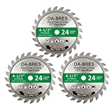 3 Pack 4-1/2-Inch 24T TCT Carbide Tipped Teeth Compact Circular Saw Blade with 3/8-Inch Arbor, General Purpose For Long-lasting Cuts in Wood, Plastic and Composite Materials