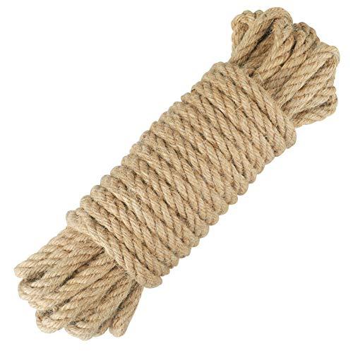 jijAcraft Cuerda de Yute Gruesa Cuerda de Cáñamo 8mm/10mm/12mm para Manualidades, Decoración, Gato Rascarse, Jardinería (10 Metros)