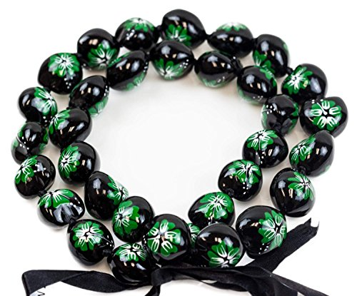 Barbra Collection Green Hibiscus Flower Kukui Nut Beads Necklaces - Hawaiian Leis Hand Painted 32 Inches Lei for Men and Women