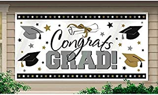 """Amscan Graduation Party Banner, Horizontal Black, Silver and Gold, Plastic, 65"""" x 33 1/2"""