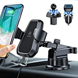 VANMASS Wireless Car Charger Mount, Automatic Clamping, Qi Fast Charging, QC 3.0 Car Charger, Windshield Dash Air Vent Phone Holder Compatible with iPhone12 11 Pro Max XS, Samsung S20 S10 Note10,Black