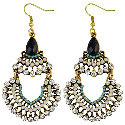 Idealway, orecchini pendenti in stile bohémien, con zirconi multicolori, in lega e resina acrilica, pendenti larghi, color oro