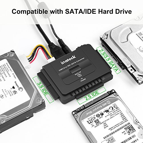 Inateck USB 3.0 to IDE/SATA External Hard Drive Reader Fit for Universal 2.5/3.5 HDD/SSD Hard Drive Disk, IDE to USB Adapter with 12V/2A Power Supply and USB 3.0 Cable, UA2001