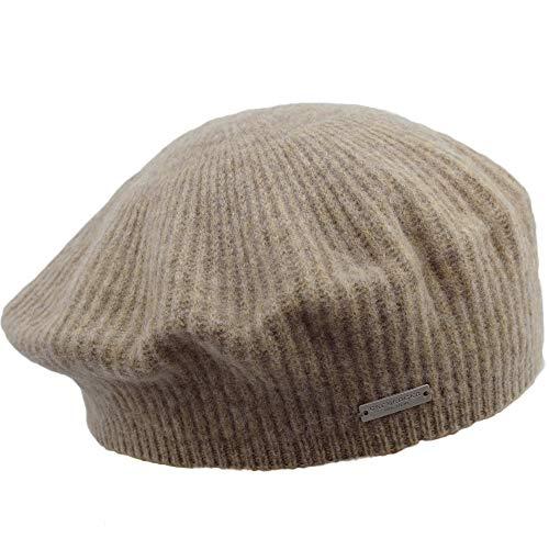Seeberger Baskenmütze aus reiner Merinowolle Soft, Mädchen / Frauen, Herbst Winter, Beige One size