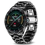 LIGE Smart Watch, Fitness-Tracker MitBlutdruck, Herzfrequenzmesser, 1,3-Zoll-Touchscreen, wasserdichte IP67-Smartwatch, Fitness Uhr für Männer, Edelstahl Band für Android iOS Schwarz