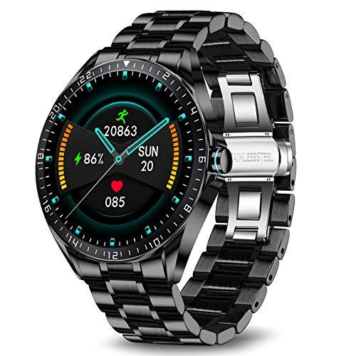 LIGE Smart Watch,Monitor De Frecuencia Cardíaca, Pantalla Táctil De 1,3 Pulgadas, Rresistente Al Agua IP67,Reloj De Fitness Para Hombres,Correa De Acero Inoxidable Para Android iOS Negro