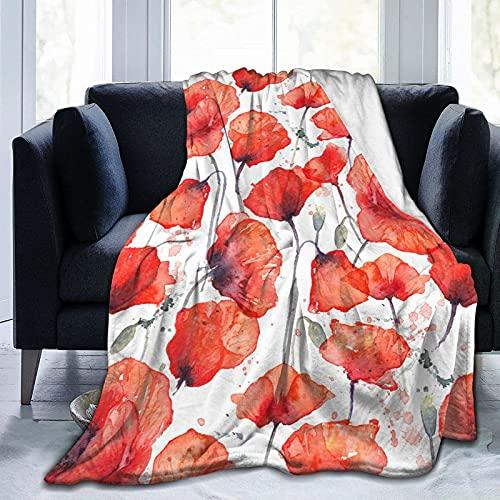 QUEMIN Manta de forro polar de franela tamaño completo acuarela roja flor de amapola, manta de felpa para todas las estaciones para sofá cama, viajes, camping o niños adultos 50 x 40 pulgadas