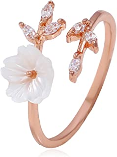 Edary Flower Ring Engagement Ring for Women and Lovers (Rose gold)