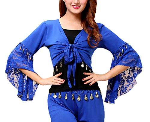 Battercake Bolero Donna Danza del Ventre Ballo Latino Costume Maniche Tromba Pizzo Casuale Donne Cucitura con Monete Top Stola Pancia Danza Costumi (Color : Navy Blue, Size : S)