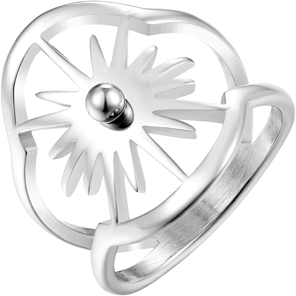 Stainless Steel Evil Sun Shine Style Cocktail Party Biker Statement Ring