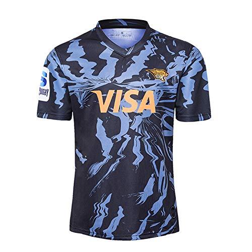 2020 Jaguars Weltmeisterschaft Rugby Jersey, Herrenhaus Rugby Baumwolle Jersey Grafik T-Shirt, Unterstützer Fans Rugby Kleidung Sport Top, 100% Polyester Atmungsakti Blue-XXL