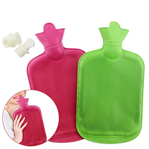 WTSHOP 2 Pack Premium Simple Rubber 2L Hot Water Bag (Red,Green),Great For Pain Relief,Hot And Cold Therapy,Natural Rubber BPA Free- Durable Hot Water Bottle Water Bottle Hot