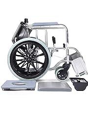 AQWESD Silla de Ruedas ordinaria Fabricada en Aluminio con bañera y Scooter autopropulsado para Adultos con Soporte para 100 KG