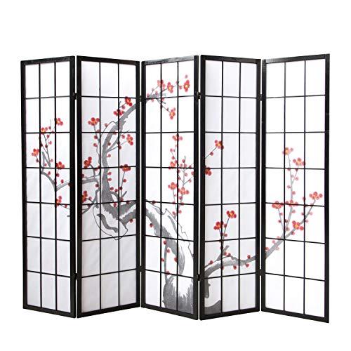 Homestyle4u 151, Paravent Raumteiler 5 teilig, Holz Schwarz Reispapier Weiß, Kirschblütenmuster