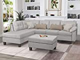 L-Shaped Sectional Sofa Set with Chaise Lounge and Storage Ottoman, Living Room Furniture Set Sofa Couch with Nail Head Detail for Home (Light Grey)