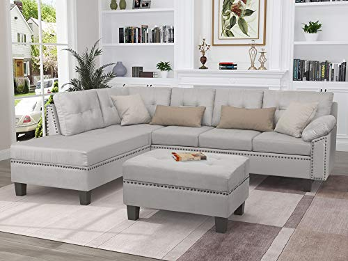 LZ LEISURE ZONE L-Shaped Sectional Sofa Set with Chaise Lounge and Storage Ottoman, Living Room...