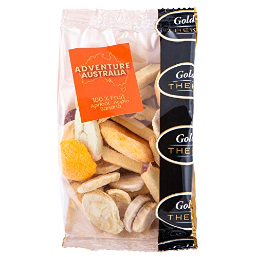 GoldTHEKE Adventure Australia, gefriergetrocknete Fruchtmischung aus Banane, Aprikose, Apfel - 100% gefriergetrocknetes Obst, 0% Zusatzstoffe (50g)