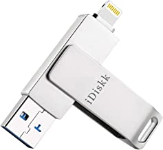 iPhone USB Flash Drive 128GB USB Flash Drive for iPhone Lightning Flash Memory iOS USB Fash Drive Lightning USB Flash Drive for iPhone iPad PC USB 3.0 External Storage Memory iDiskk (128GB, Silver)