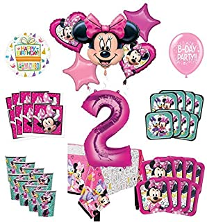 Mayflower Products Minnie Mouse 2nd Birthday Party Supplies and 8 Guest Balloon Decoration Kit