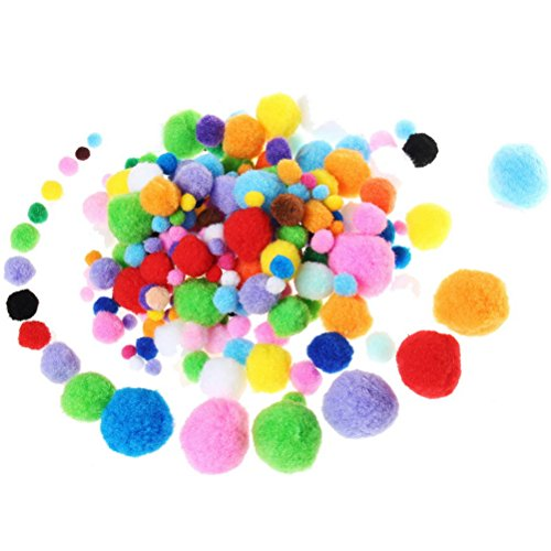 Pom Poms, Borte 200Stück Craft Pom, bunte flauschige Pompons, zum Basteln, Hobby Supplies und Dekorationen