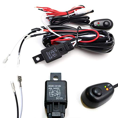 iJDMTOY (1) 6ft Long LED Light Bar Relay Wiring Harness w/LED Indicator Light On-Off Switch