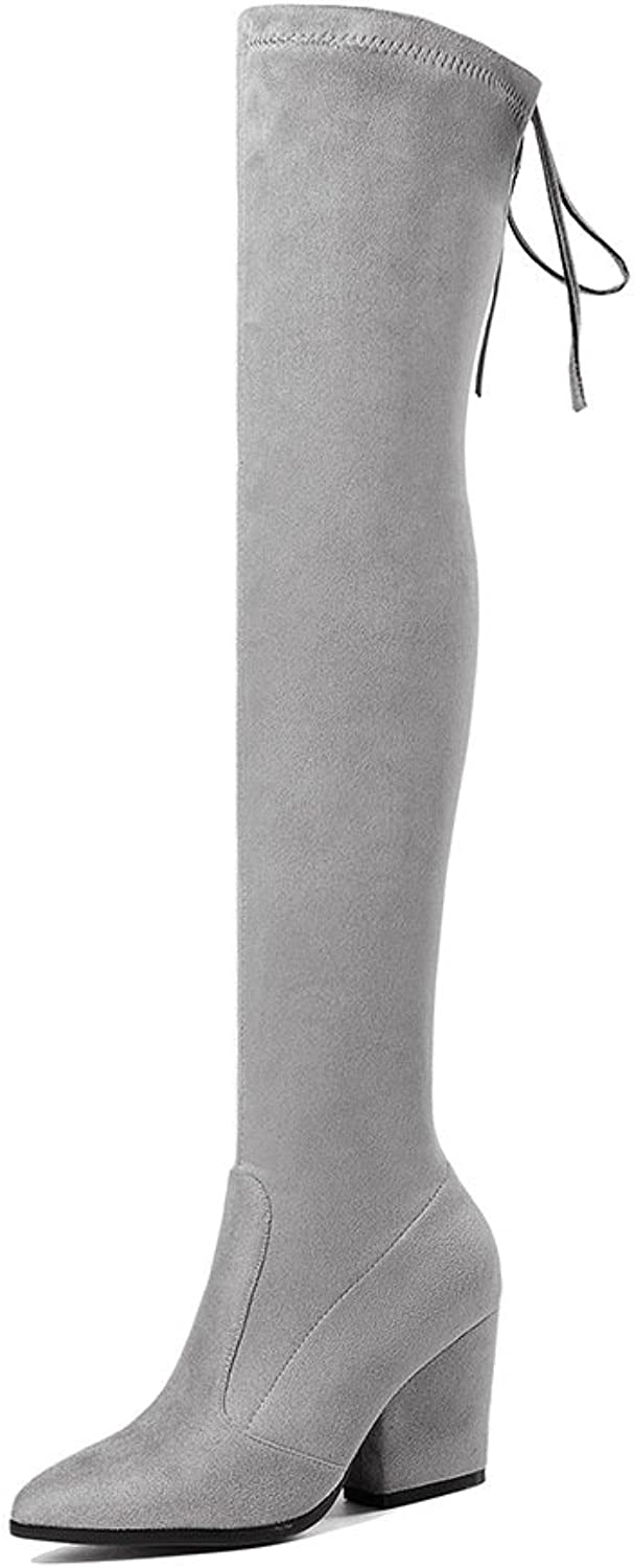 Wetkiss Thick Heels Lady Over The Knee Boots Sexy Slim Stretch Thigh high Boots Women's shoes