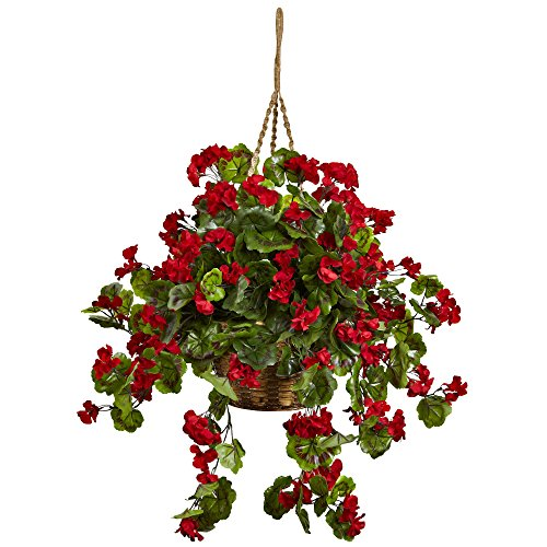 Nearly Natural 6857-RD Geranium Hanging Basket UV Resistant, Red,10.125'' x 29'' x 10.125''